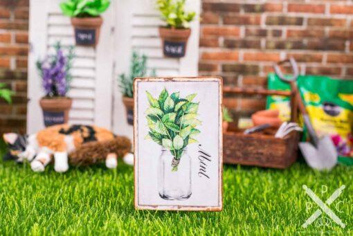 Dollhouse Miniature Farmhouse Mint Sign - Decorative Spring Sign - 1:12 Dollhouse Miniature Garden Sign