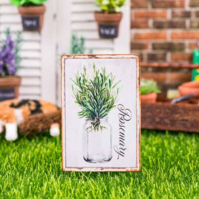Dollhouse Miniature Farmhouse Rosemary Sign - Decorative Spring Sign - 1:12 Dollhouse Miniature Garden Sign