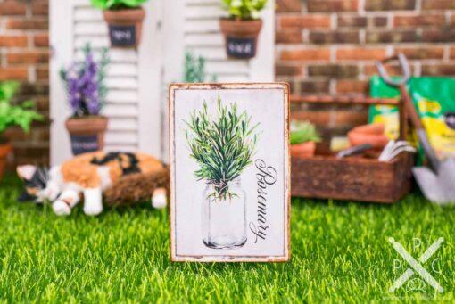 Dollhouse Miniature Farmhouse Rosemary Sign - Decorative Spring Sign - 1:12 Dollhouse Miniature Garden Sign