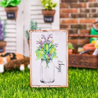 Dollhouse Miniature Farmhouse Sage Sign - Decorative Spring Sign - 1:12 Dollhouse Miniature Garden Sign