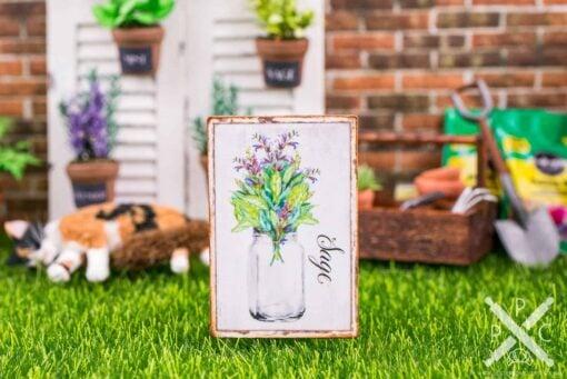 Dollhouse Miniature Farmhouse Sage Sign - Decorative Spring Sign - 1:12 Dollhouse Miniature Garden Sign