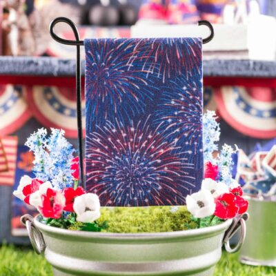 Dollhouse Miniature Fireworks 4th of July Garden Flag - 1:12 Dollhouse Miniature Garden Flag