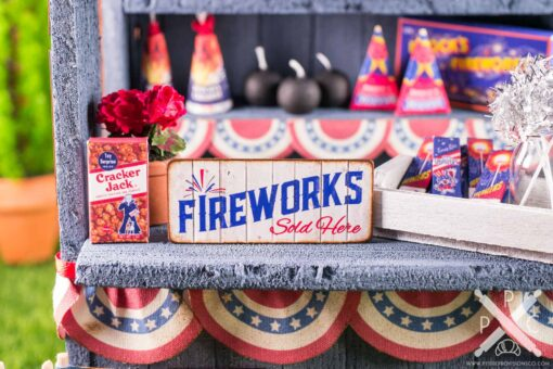 Dollhouse Miniature Fireworks Sold Here 4th of July Sign - 1:12 Dollhouse Miniature Sign