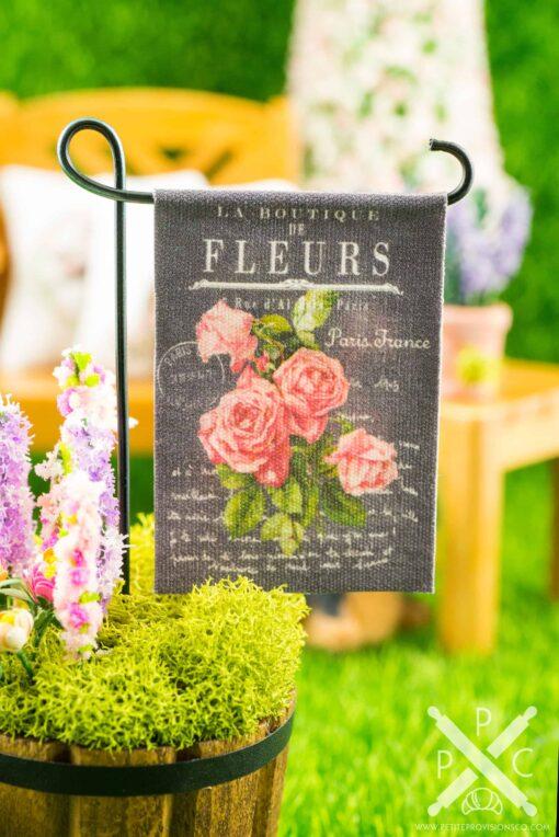 Dollhouse Miniature Pink Victorian Roses Chalkboard Spring Garden Flag