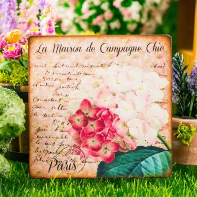 Dollhouse Miniature Hydrangeas French Floral Sign