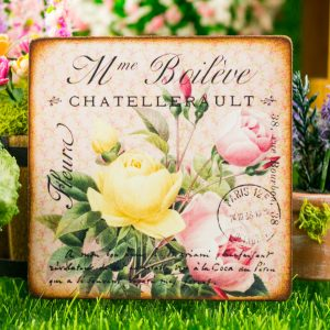 Yellow and Pink Roses French Floral Sign