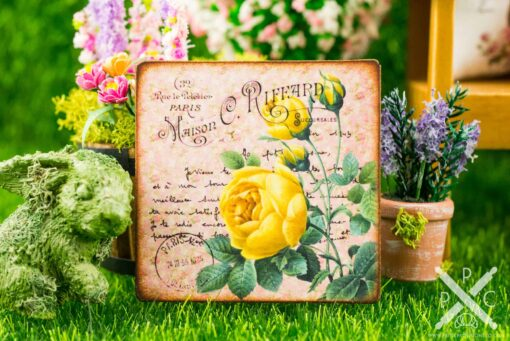 Dollhouse Miniature Yellow Roses French Floral Sign