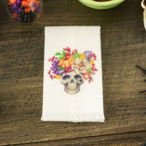 Floral Skull Tea Towel