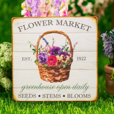 Dollhouse Miniature Flower Market Sign