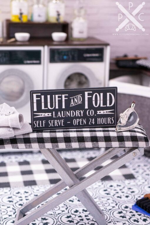 Dollhouse Miniature Farmhouse Fluff and Fold Laundry Co. Sign - 1:12 Dollhouse Miniature Laundry Room Sign