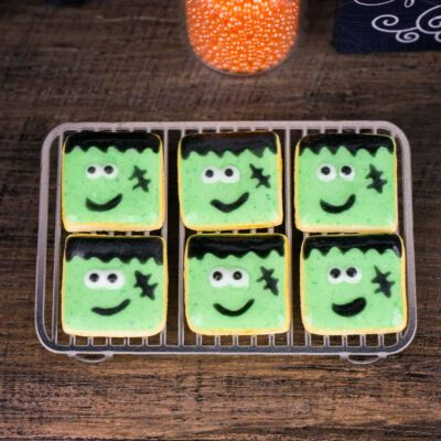 Dollhouse Miniature Frankenstein Halloween Cookies - Half Dozen - 1:12 Dollhouse Miniature - Halloween Miniatures