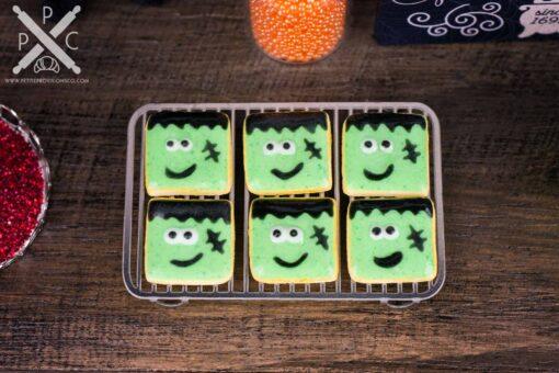 Dollhouse Miniature Frankenstein Halloween Cookies - Half Dozen - 1:12 Dollhouse Miniature - Halloween Miniatures