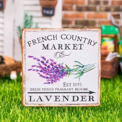 Dollhouse Miniature French Country Market Lavender Sign - Decorative Spring Sign - 1:12 Dollhouse Miniature Garden Sign