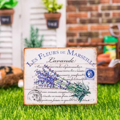 Dollhouse Miniature French Lavender Sign - Decorative Spring Sign - 1:12 Dollhouse Miniature Garden Sign