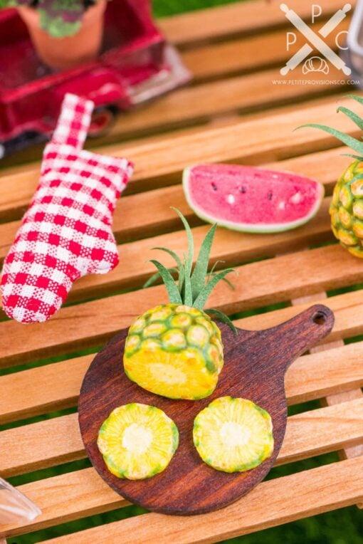 Dollhouse Miniature Fresh Pineapple Slices on Board - 1:12 Dollhouse Miniature Pineapple
