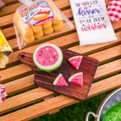 Dollhouse Miniature Fresh Watermelon Slices on Board - 1:12 Dollhouse Miniature Watermelon