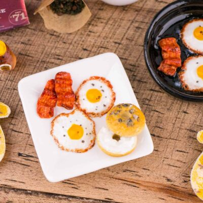 Dollhouse Miniature Plate of Fried Eggs, Bacon and Bagel with Cream Cheese - 1:12 Dollhouse Miniature Eggs and Bacon - Dollhouse Breakfast
