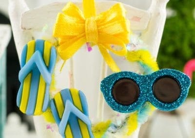 Fun in the Sun Summer Wreath with Flip Flops and Sunglasses in Yellow and Blue