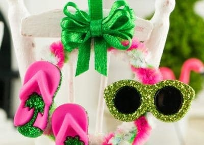 Fun in the Sun Summer Wreath with Flip Flops and Sunglasses in Pink and Green