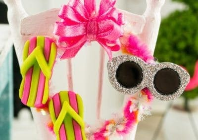 Fun in the Sun Summer Wreath with Flip Flops and Sunglasses in Pink, Orange and Green