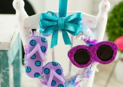 Fun in the Sun Summer Wreath with Flip Flops and Sunglasses in Purple and Blue
