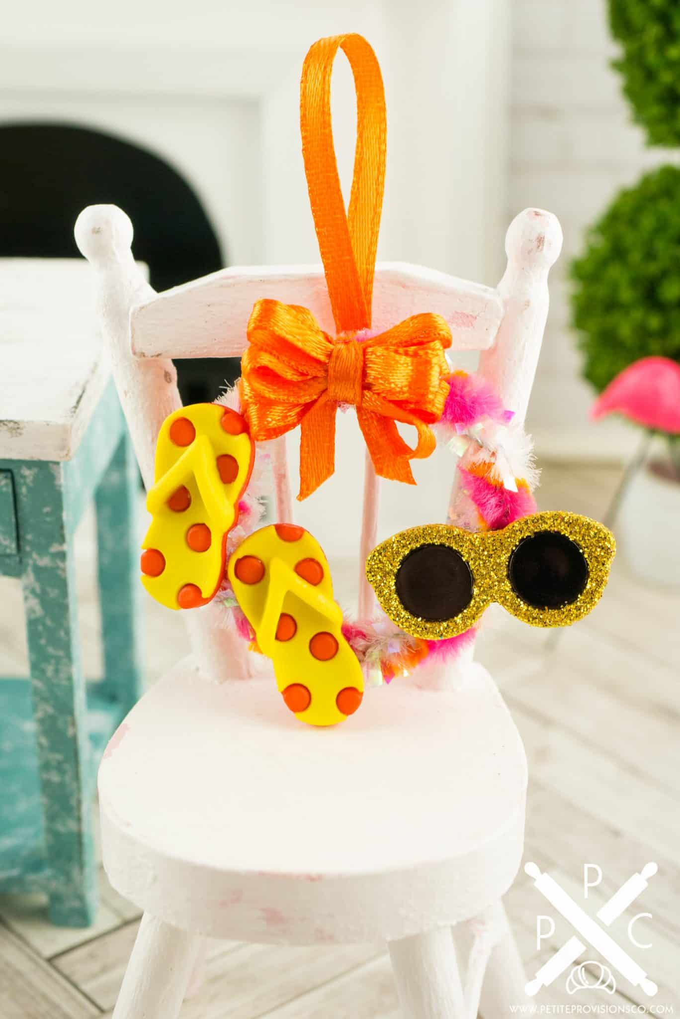 Dollhouse Miniature Fun In The Sun Summer Wreath With Flip Flops And