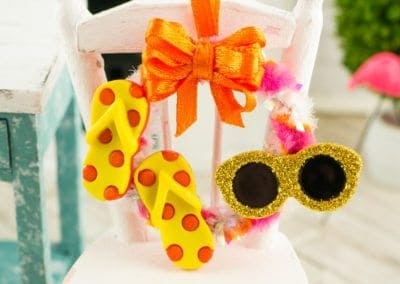 Fun in the Sun Summer Wreath with Flip Flops and Sunglasses in Yellow, Pink and Orange