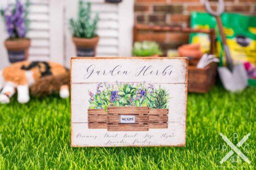 Dollhouse Miniature Garden Herbs Sign - Decorative Spring Sign - 1:12 Dollhouse Miniature Garden Sign