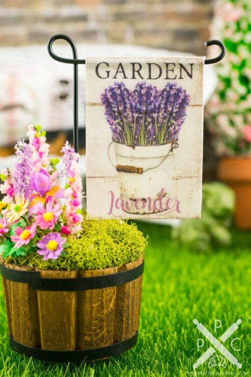 Dollhouse Miniature Garden Lavender Spring Garden Flag