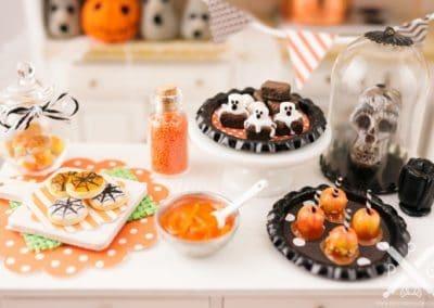 Halloween Ghost Brownies on Tray