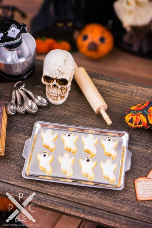Dollhouse Miniature Ghost Cookies on Tray - 1:12 Dollhouse Miniature Halloween Cookies