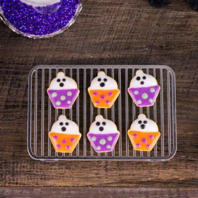 Dollhouse Miniature Ghost Cupcake Halloween Cookies - Half Dozen - 1:12 Dollhouse Miniature - Halloween Miniatures