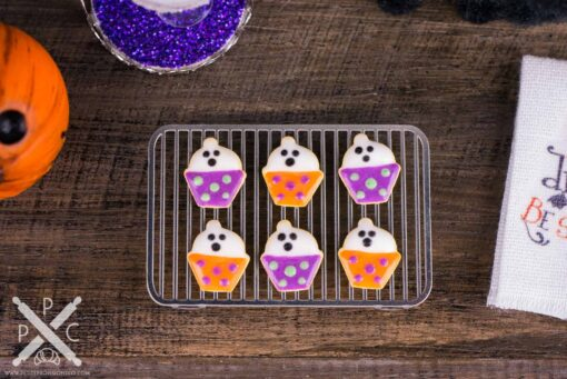 Dollhouse Miniature Ghost Cupcake Halloween Cookies - Half Dozen - 1:12 Dollhouse Miniature - Halloween Miniatures