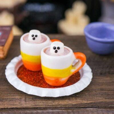 Dollhouse Miniature Halloween Ghostly Hot Chocolate for Two on Tray - 1:12 Dollhouse Miniature Halloween Treats