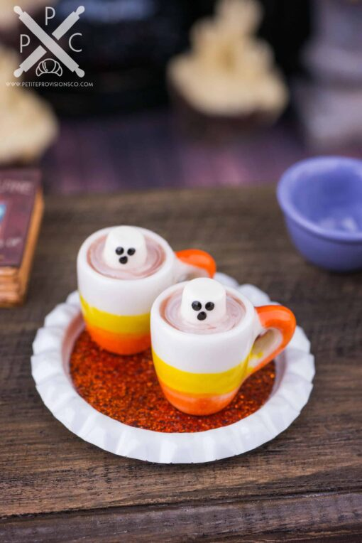 Dollhouse Miniature Halloween Ghostly Hot Chocolate for Two on Tray - 1:12 Dollhouse Miniature Halloween Treats