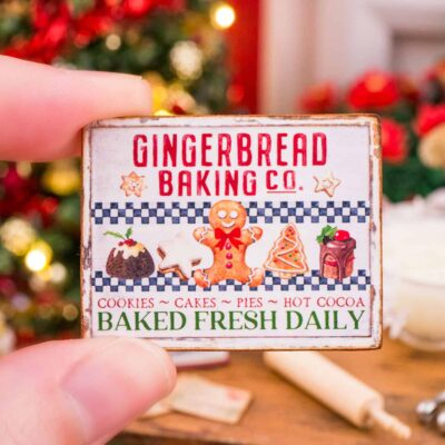 Dollhouse Miniature Gingerbread Baking Co. Sign - 1:12 Dollhouse Miniature Christmas Sign