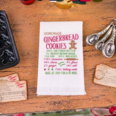 Dollhouse Miniature Homemade Gingerbread Cookies Recipe Tea Towel - 1:12 Dollhouse Miniature - Christmas Miniatures