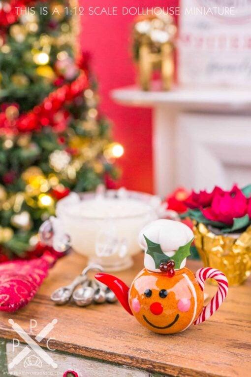 Dollhouse Miniature Gingerbread Man Teapot - 1:12 Dollhouse Miniature Teapot - Christmas Miniatures