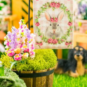 Pink Gingham Rabbit Easter Garden Flag