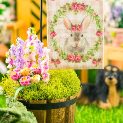 Dollhouse Miniature Pink Gingham Rabbit Easter Garden Flag