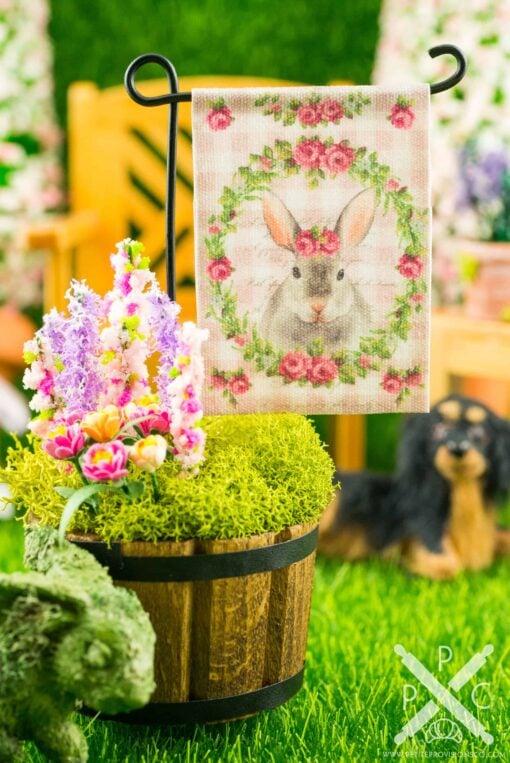 Dollhouse Miniature Pink Gingham Rabbit Easter Garden Flag