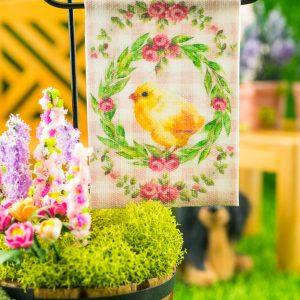 Pink Gingham Chick Easter Garden Flag