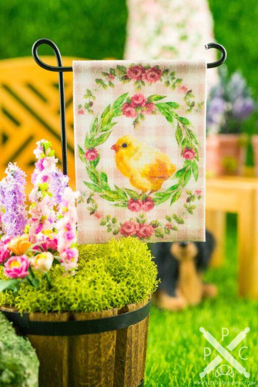 Dollhouse Miniature Pink Gingham Chick Easter Garden Flag