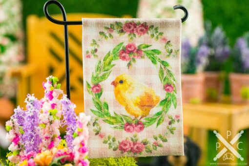 Dollhouse Miniature Pink Gingham Chick Easter Garden Flag