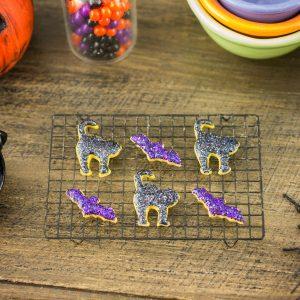 Glitter Cats and Bats Halloween Cookies – Half Dozen