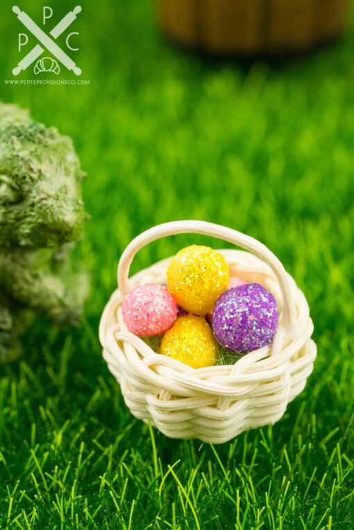 Dollhouse Miniature Easter Basket with Glitter Easter Eggs
