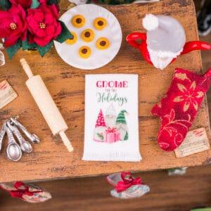 Gnome for the Holidays Christmas Tea Towel