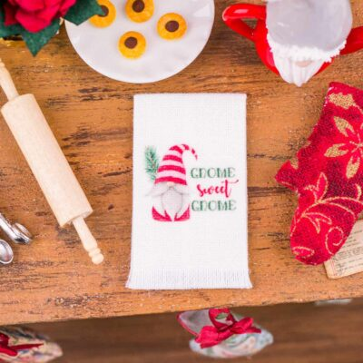Dollhouse Miniature Gnome Sweet Gnome Christmas Tea Towel - 1:12 Dollhouse Miniature Christmas Kitchen Towel