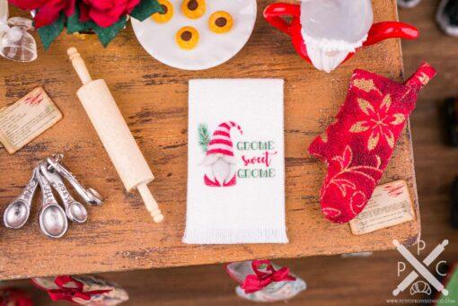 Dollhouse Miniature Gnome Sweet Gnome Christmas Tea Towel - 1:12 Dollhouse Miniature Christmas Kitchen Towel