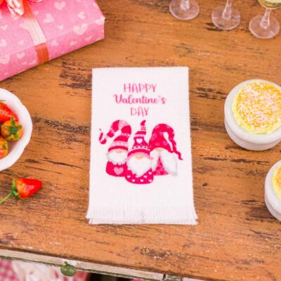Dollhouse Miniature Happy Valentine's Day Gnomes Tea Towel - Valentine's Day Kitchen Towel - 1:12 Dollhouse Miniature Valentine's Day Towel